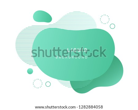 Green fluid blob for card background. Liquid stain in dynamic color. Free geometrical shape for flyer. Aqua blotch with wavy lines. Abstract gradient banner template