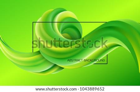 Green fluid shape design. 3d vector illustration