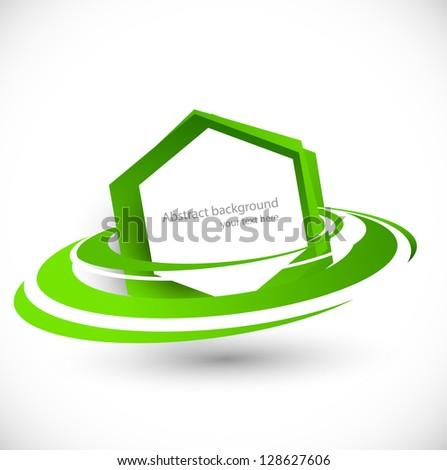 Green flying hexagon
