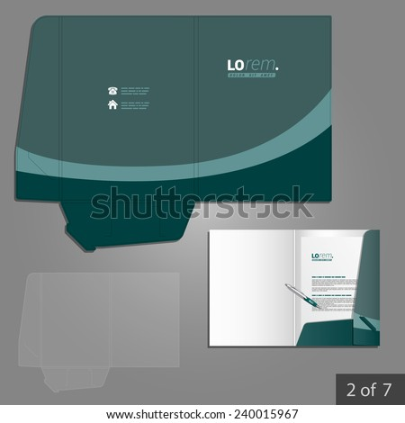 Green folder template design for company with lines. Element of stationery.