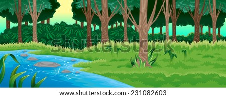 green forest vector cartoon