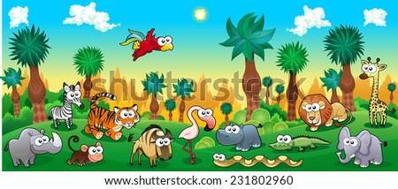 green forest with funny wild