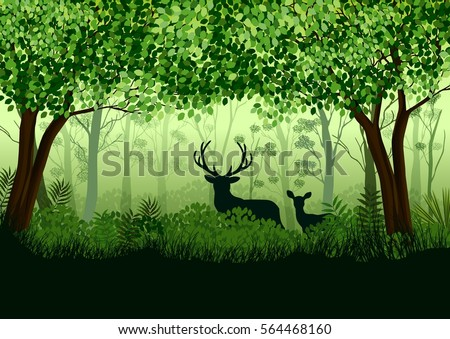 green forest with wild elk in