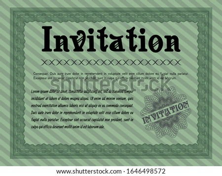 Green Formal invitation. Customizable, Easy to edit and change colors. With great quality guilloche pattern. Modern design.