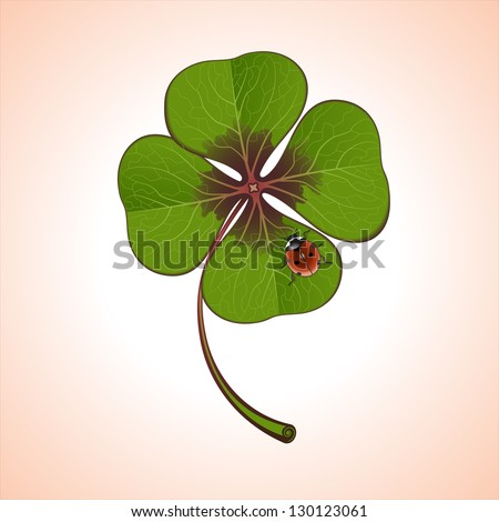 green four-leaf clover with ladybug