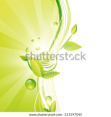 Green Frame With Leaves and Abstract Balls, Copyspace for Your Text