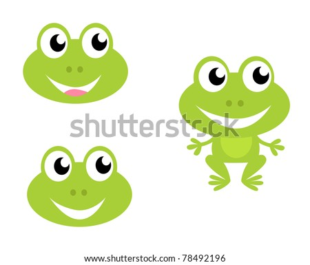 Green frog icon collection. Vector cartoon Illustration.