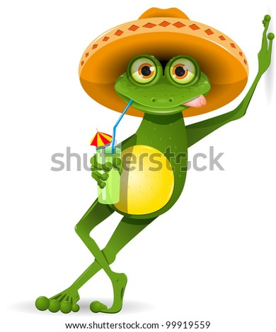 green frog in a sombrero and a