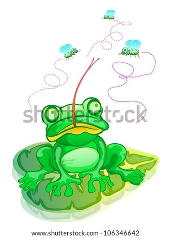 green frog siting on leave, hunting flies isolated on white color