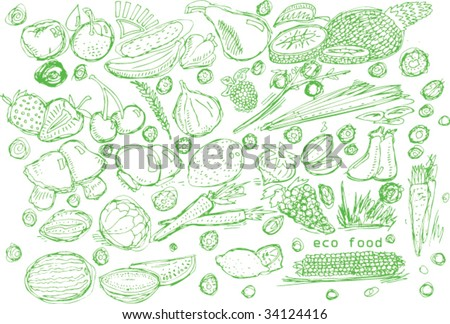 green fruits and vegetables doodles set in vector