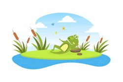 Green Funny Frog Lying on Leaf in Pond, Cute Amphibian Creature Character Posing on Lily Pad Cartoon Vector Illustration