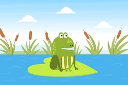 Green Funny Frog Sitting on Leaf in Pond, Cute Amphibian Creature on Lily Pad Cartoon Vector Illustration
