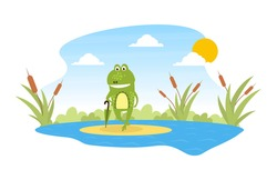 Green Funny Frog Standing with Umbrella on Leaf in Pond, Cute Amphibian Creature Character Posing on Lily Pad Cartoon Vector Illustration