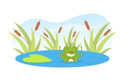Green Funny Frog Swimming in Pond, Cute Amphibian Creature Cartoon Character Vector Illustration