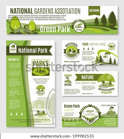 Green ecology and landscape gardening association or company posters green ecology and landscape gardening association or company posters and banners templates vector set of parkland squares forest trees or garden and cheaphphosting Gallery