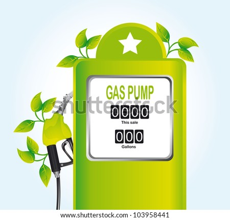 green gas pump with leaves over blue background. vector