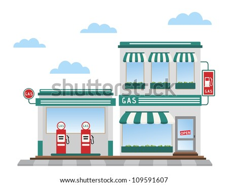 green gas station pumps and shop