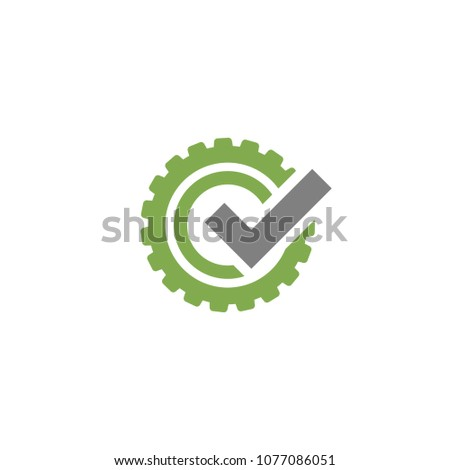Green gear with grey tick icon. Vector flat illustration for technology or innovation. Eco style.