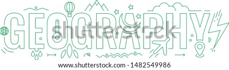 green geography word. geography word concept. geography word and symbols