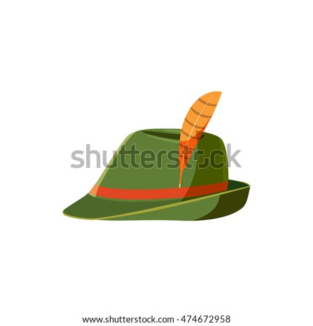 Green germany costume oktoberfest hat icon in cartoon style isolated on white background vector illustration
