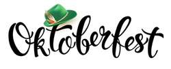 Green germany costume oktoberfest hat with feather icon in cartoon style isolated on white background vector illustration Munich Beer Festival Oktoberfest handwritten text