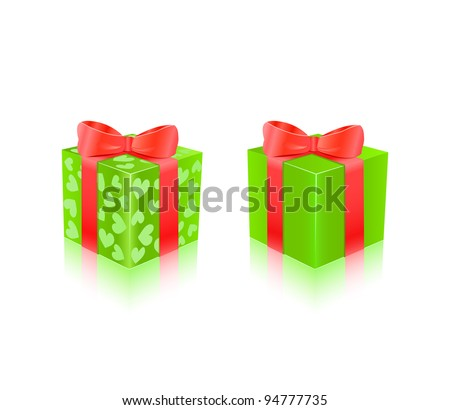 Green Gift Box With Red Ribbon. Vector Illustration - stock vector