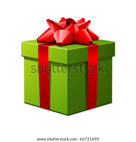 Green gift with red bow vector illustration