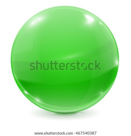 green glass ball 3d shiny