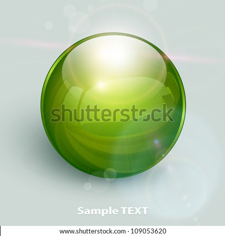 green glass ball on background