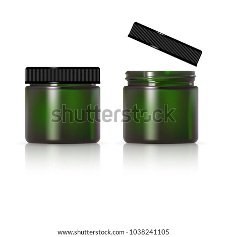 green glass jar for cosmetic