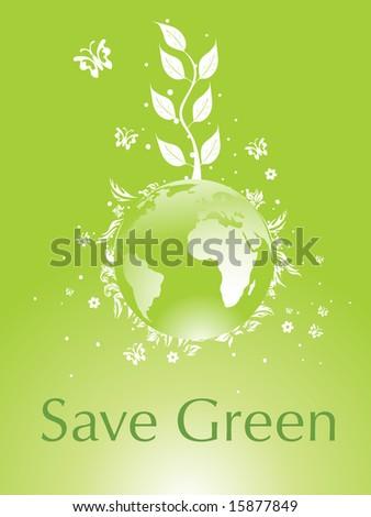 green globe between environmental protection concept