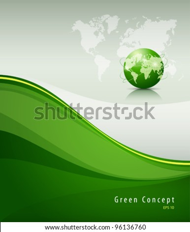 Green globe concept background, vector illustration