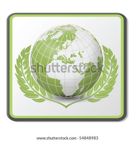 Green Globe Icon Vector