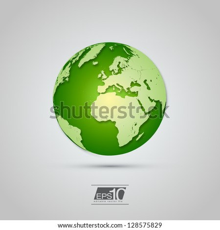 green globe icon with realistic