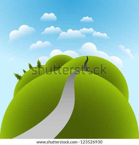 Green globe Landscape with trees, clouds, roads, and mountains - stock vector