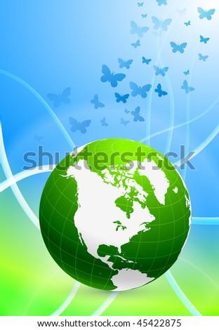 Green Globe on Abstract Background Original Vector Illustration EPS10