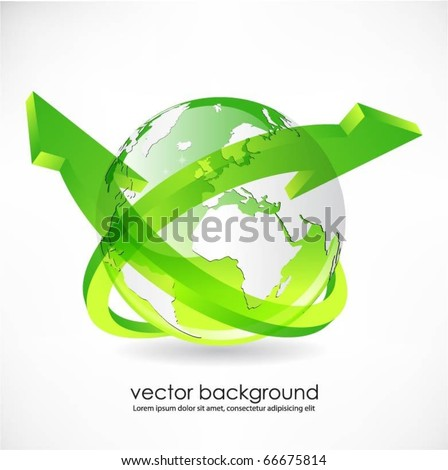green globe with arrows vector - stock vector