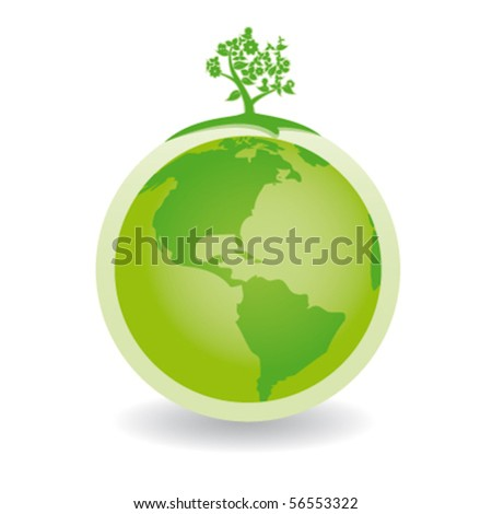green globe with green tree america