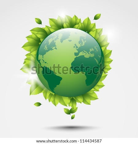 Green globe with leaves floating. Abstract art.