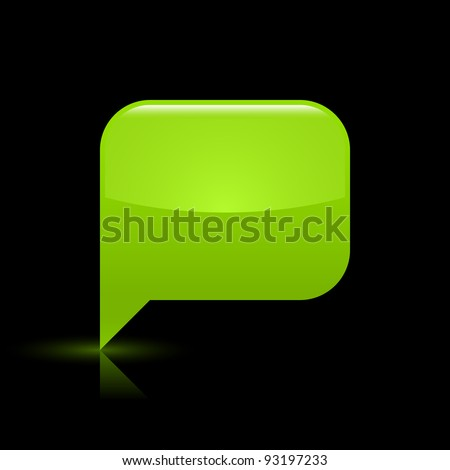 green glossy blank speech bubble web icon rounded