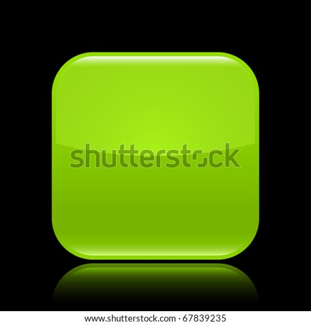 Green glossy blank web 2.0 button with colored reflection on black background