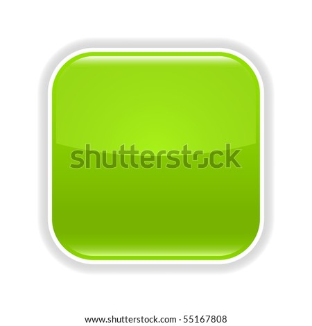 Green glossy blank web 2.0 button with gray shadow on white background