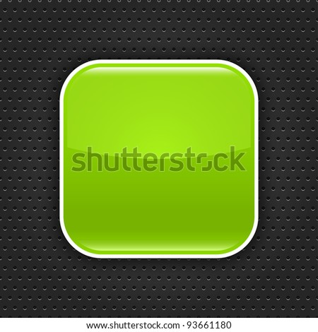 Green glossy blank web button with white border frame. Rounded square shape icon with black shadow.  Dark gray background metal perforation texture. This vector illustration saved in 10 eps