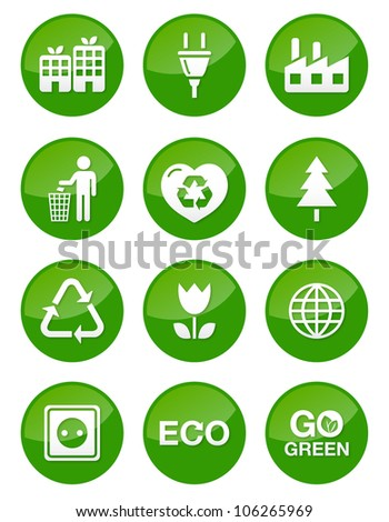 Green glossy buttons set - recycling, ecology, bio, green power