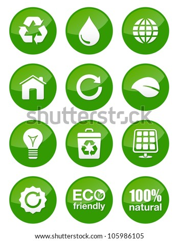 Green glossy buttons set - recycling, ecology, bio, green power, footprint