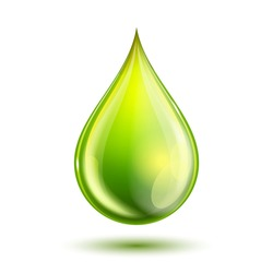 Green glossy drop isolated on white. Vector illustration of biodiesel droplet, petrol, oil, natural liquids symbol. Biofuel concept