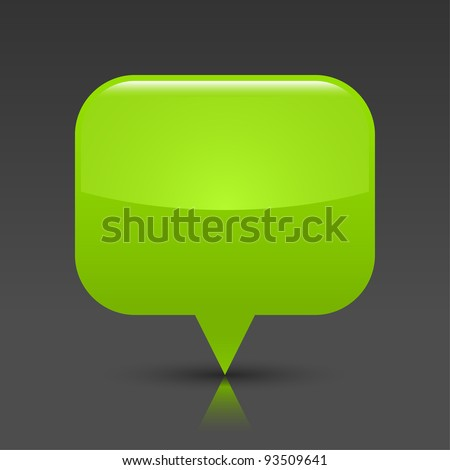Green glossy empty blank map pin button. Rounded rectangle web icon with black shadow and color reflection on dark gray background. This vector saved in 8 eps. See more buttons in my gallery