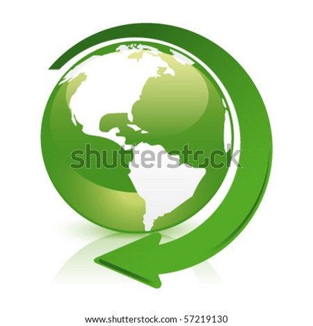 green glossy globe recycle america