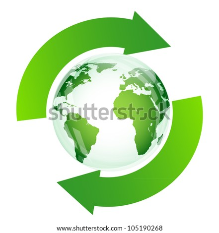 Green glossy globe recycle on white (recycle for earth)