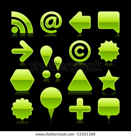 Green glossy slass web icon button set with color reflection isolated on black background
